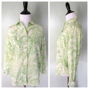 RALPH LAUREN Green White Floral Button Front Shirt